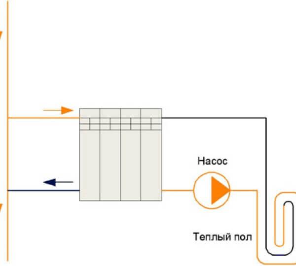 Подключение водяного теплого пола к радиатору отопления
