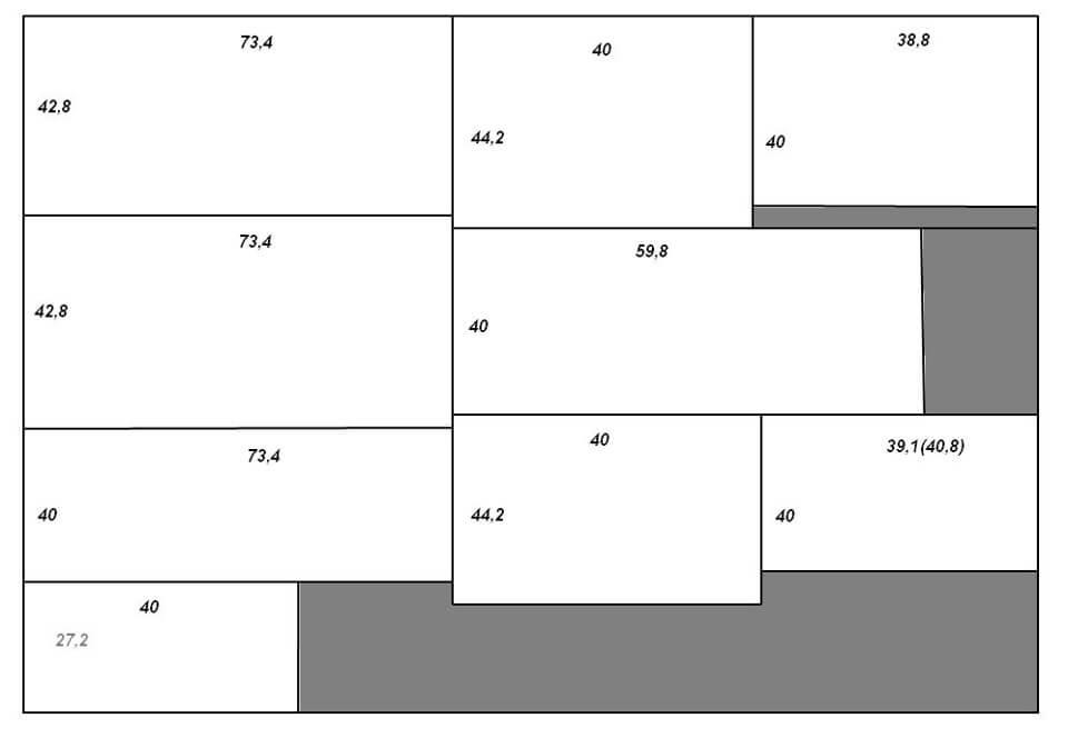 Пример схемы размещения листов фанеры с размерами